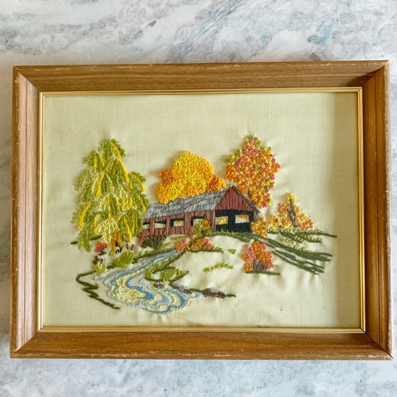 Vintage Boho Covered Bridge Floral Needlepoint Art